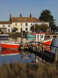 Boat moored in Southwold Harbour, Suffolk, UK Royalty Free Stock Images