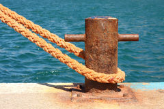 Boat mooring. In the pier royalty free stock image