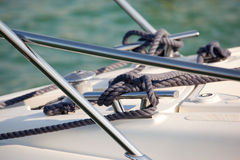 Mooring line on boat Stock Photography