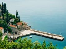 Boat mooring Arboretum Trsteno, near Dubrovnik in Croatia. Stock Images