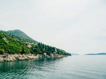 Boat mooring Arboretum Trsteno, near Dubrovnik in Croatia. Stock Image