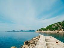 Boat mooring Arboretum Trsteno, near Dubrovnik in Croatia. Royalty Free Stock Photography