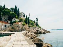 Boat mooring Arboretum Trsteno, near Dubrovnik in Croatia. Royalty Free Stock Photo