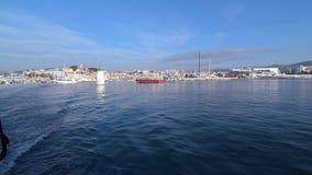 Boat at a mooring. stock footage