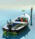 Boat mooring. Boat docked in a small harbor in Marina di Pisa Stock Images