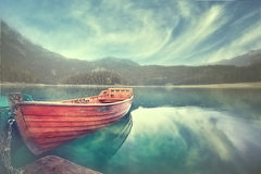 boat on a mooring mountain lake Royalty Free Stock Images