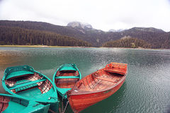 boat on a mooring mountain lake Royalty Free Stock Photography