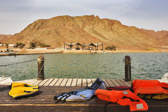 Boat mooring in  park Timna Stock Photo