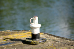 Boat mooring on river jetty Stock Images