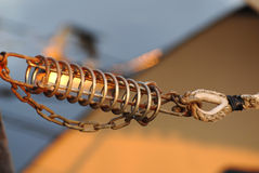 Boat mooring spring with chain Stock Photography