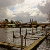 Boat moorings and bridge at Henley Royalty Free Stock Photo
