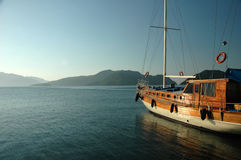 Boat in the morning. Typical turkish boat in the morning sun Stock Photo
