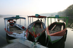 Boat. Morning mood in the reservoir Kedungombo in Sragen, Central Java, Indonesia Royalty Free Stock Photos