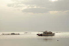 Boat during the morning time of Asker beach Bahrain Royalty Free Stock Photo