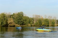 Boat on the Moscow River in the Silver Forest. Stock Photography