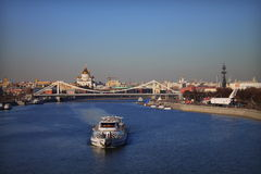 Boat on the Moscow River. Spring in Moscow. View near Gorky Park Stock Images