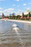 Boat in Moskva River, Kremlin, Moscow City Royalty Free Stock Photos