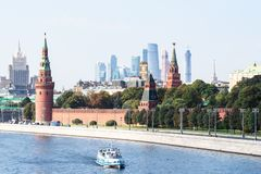 Boat in Moskva River near Kremlin in Moscow city royalty free stock image