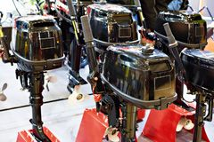 Boat motors in store. Boat motors in the store royalty free stock images