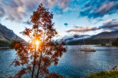 Boat in mountain lake Royalty Free Stock Images