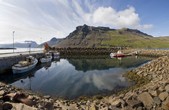 Boat,mountain, reflection in Iceland Royalty Free Stock Photo