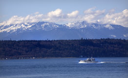 Boat and mountains Royalty Free Stock Image