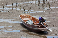 Boat on Mud, Thailand Stock Image
