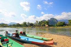 Boat on nam song river in vang vieng, laos, Royalty Free Stock Photo
