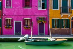 Canal and colorful houses of Burano. Royalty Free Stock Image