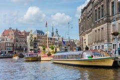 Boat navigating in Amsterdam, Netherlands. AMSTERDAM, NETHERLANDS – JUNE 16, 2013: One of the thousands boats navigating along the famous Amsterdam canals Royalty Free Stock Photo