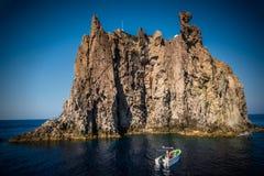 Boat near Aeolian islands Royalty Free Stock Photography