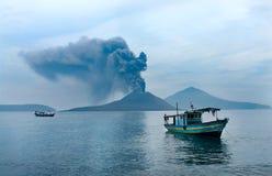 Boat near Anak Krakatau. Volcano eruption. Indonesia Stock Photos