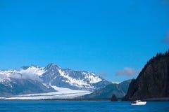 Boat Near Bear Glacier in Kenai Fjords Alaska Royalty Free Stock Images