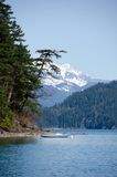 Boat near Echo island. Sasquatch Provincial Park, British Columbia Royalty Free Stock Image
