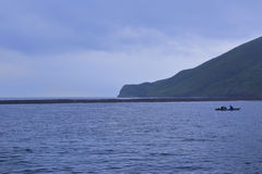 A boat near guishandao ( turtle island ) Stock Photos