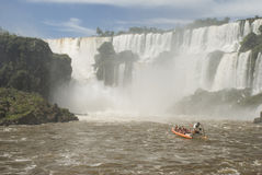 Boat Near Iguassu Falls Stock Images