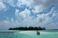 Boat near an island Stock Photo