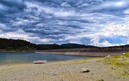 Boat near lake Bolboci Stock Photo