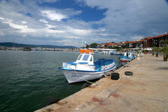 Boat near peer. Nesebar. Bulgaria.  Royalty Free Stock Photos