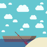 Boat near sand beach Royalty Free Stock Images