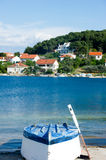 Boat near a sea. A picture of a boat turned upside down near the adriatic sea Royalty Free Stock Photo