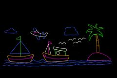 Boat neon, airplane neon in the garden vector illustration