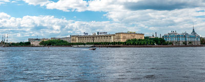 Boat on Neva river Royalty Free Stock Images