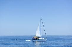 Boat next to whale Stock Photography