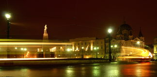 Freedom Square in Lodz. The Freedom Square in Łódź in Poland in the night Stock Photo