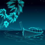 Boat night promenade sea vacation. Romantic date wedding travel leisure sandy coast starry sky. Palm beach ocean shore Stock Photography