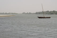 Boat on the Nile. Fishing boat flows on the river Royalty Free Stock Photography
