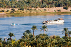 Boat on Nile River. In Aswan, Egypt Royalty Free Stock Images