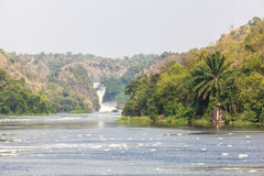 Boat on Nile river at Murchison Falls National Park, Uganda Stock Photos