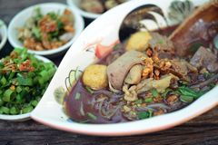 Boat noodles or kuai tiao ruea is a Thai style noodle Royalty Free Stock Photo